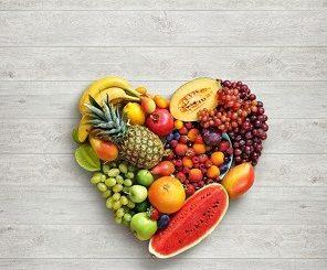 Heart symbol. Fruits diet concept.