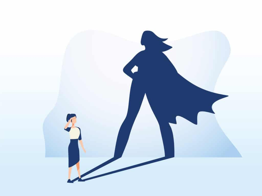 Illustration of a women with a shadow on the wall behind her in the shape of a superhero with a cape.