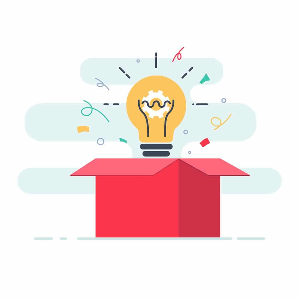 Illustration of a lightbulb popping up out of a box with confetti around it.