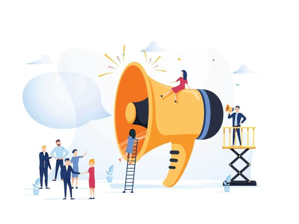 An illustration of a un-proportionally large megaphone and several smaller people climbing on it.