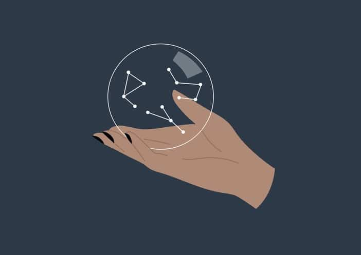 Astronomy, a hand holding a globe with constellations, stars reading
