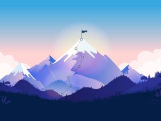 Flag on mountain top.