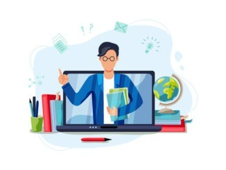 Teacher with armful of books coming out of a computer screen