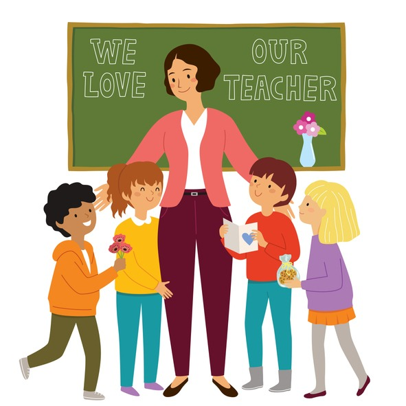 Kids appreciating their teacher