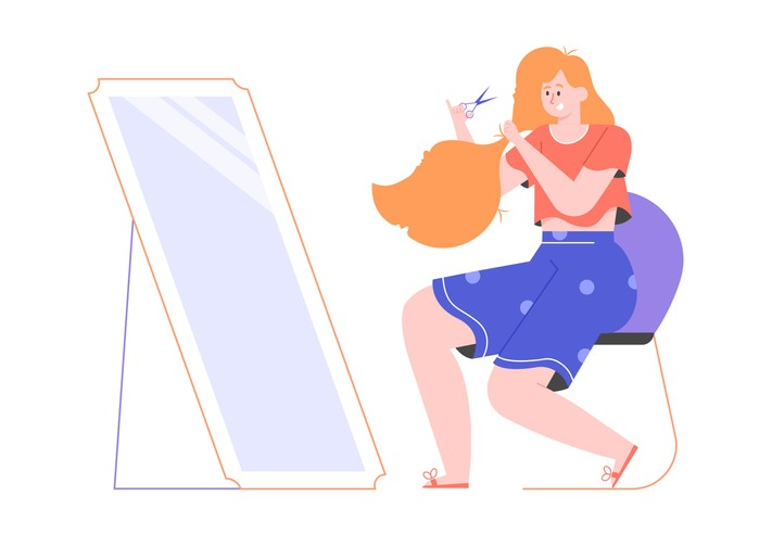 Cute red-haired girl makes a DIY haircut at home. Sits in front of a mirror with scissors. Quarantine self-reliant hair care. Vector flat illustration.