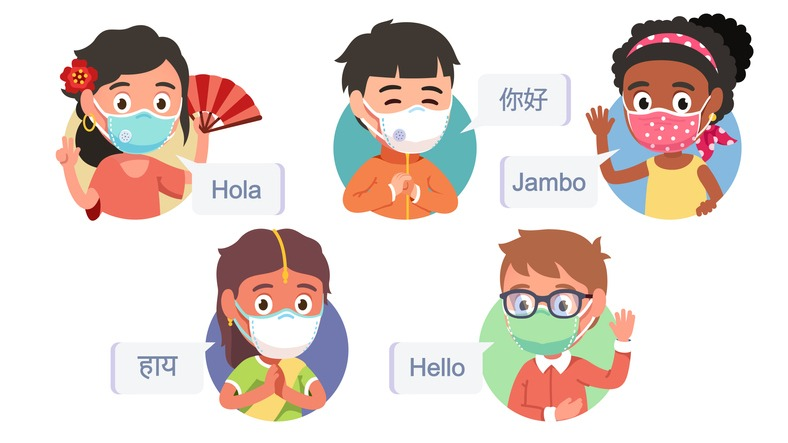 Multiethnic boys & girls kids in masks saying hello in different languages. Diverse people showing greeting gestures. International friendship during coronavirus pandemic set. Flat vector illustration