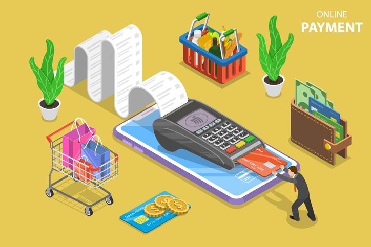 Mobile payment flat isometric vector conceptual illustration.
