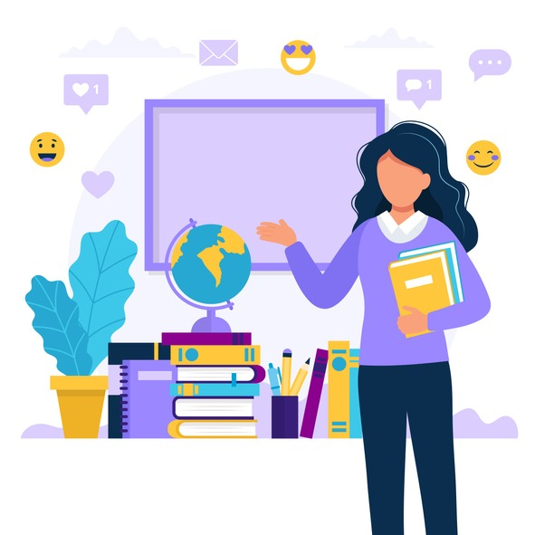 Female teacher with books and chalkboard. Concept illustration for school, education, university. Vector illustration in flat style