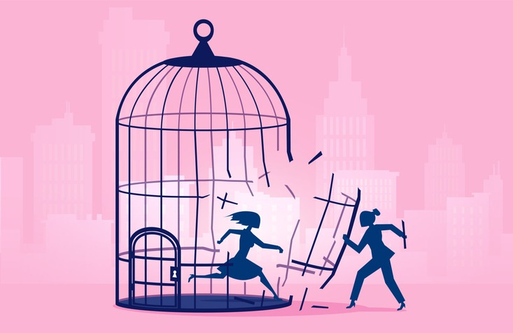 Vector of a woman escaping birdcage being helped by businesswoman