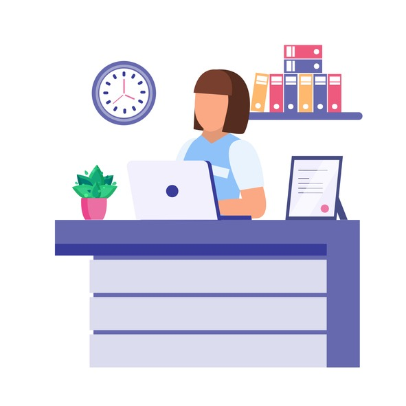 Reception desk with young woman. Flat vector illustration on white background.