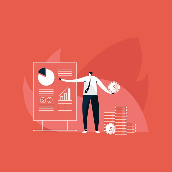 Businessman giving presentations with diagrams and higher growth graph, money making concept