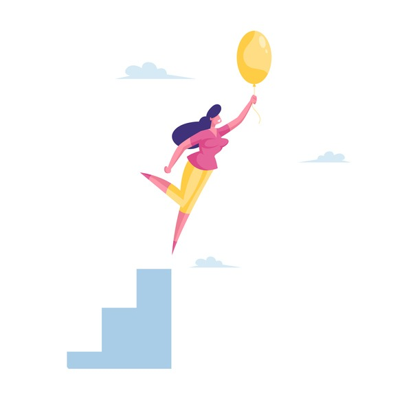 Businesswoman Character Flying with Air Balloon in Air. Inspiration, Progress and Creative Solution Concept. Business Woman Adventure, Career Growth and Escaping Crisis. Cartoon Vector Illustration