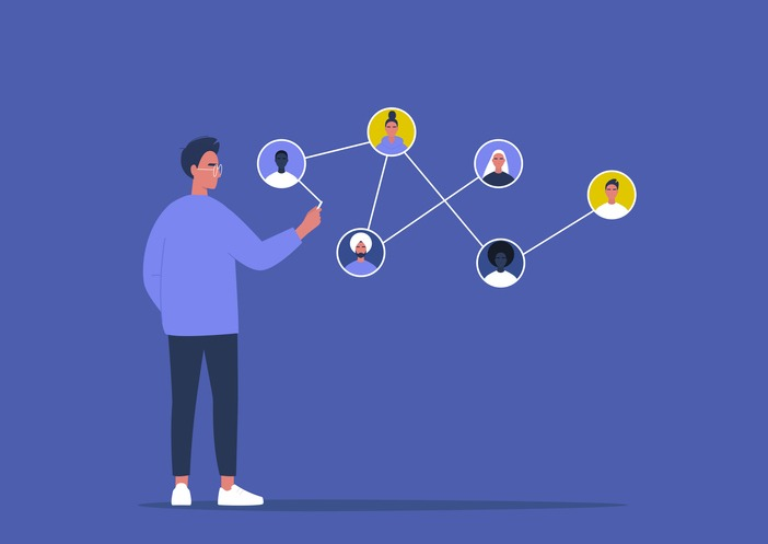 Networking concept, young male character connecting together different members of the system