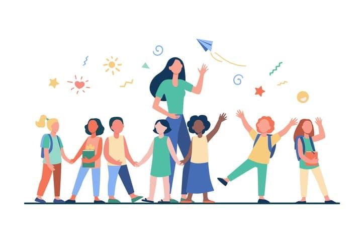 Young teacher with joyful kids