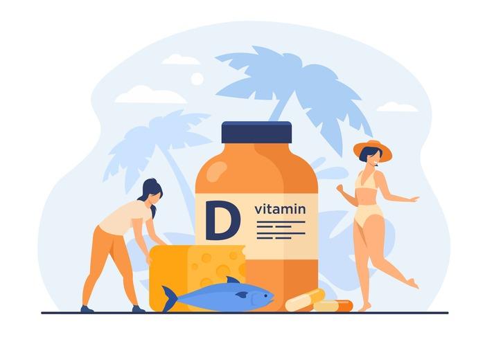Tiny women eating fatty fish, vitamin D, cheese and sunbathing