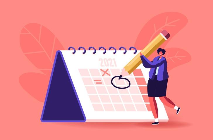 Female Character Circle Date on Huge Calendar Planning Important Matter. Time Management, Work Organization, Reminder