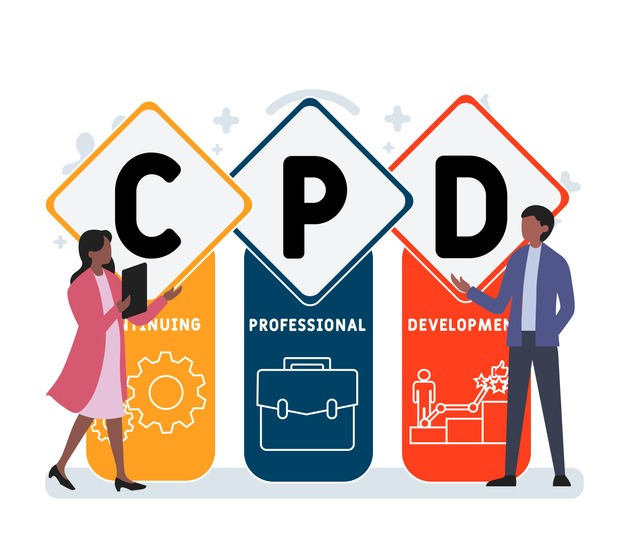 Flat design with people. CPD – Continuing Professional Development acronym,