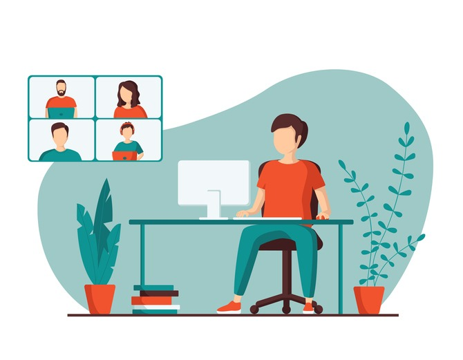 A young man is talking with colleagues using a video call. Concept of online conference from home. Remote work, webinar or distance learning. Vector illustration in a flat style.