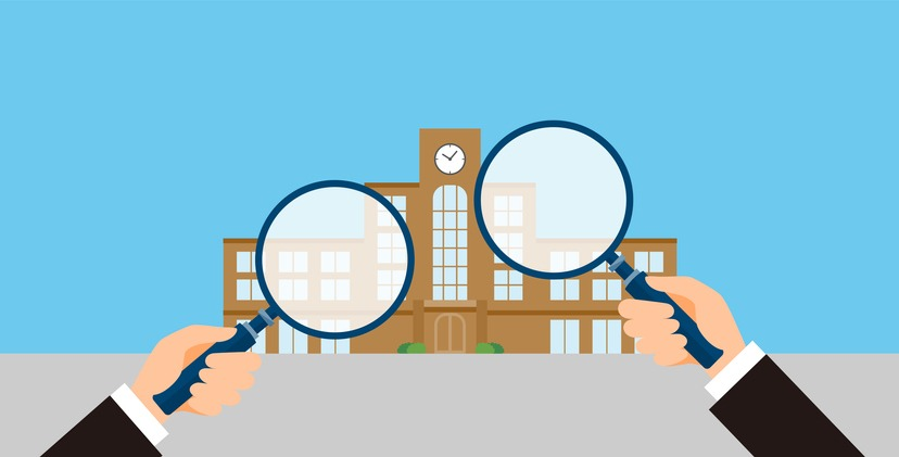 school research image, man holding magnifying glass, vector illustration, blue background