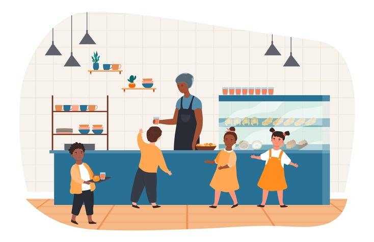 School canteen with children