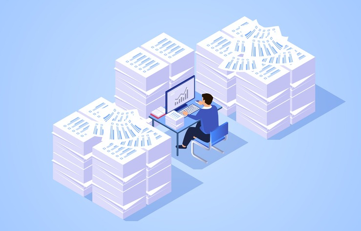Pile of work documents piled up around busy working businessman